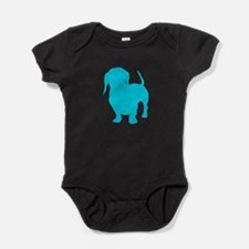 Dachshund Lt Blue 1 Dark Baby Bodysuit