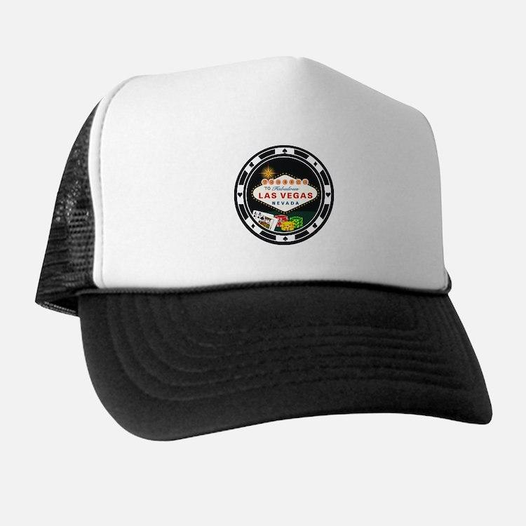 Las Vegas Poker Chip Design Trucker Hat