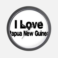 i love Papua New Guinea Wall Clock