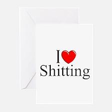 """I Love (Heart) Shitting"" Greeting Cards (Pk of 10"