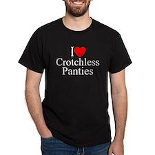 """I Love (Heart) Crotchless Panties"" T-Shirt"