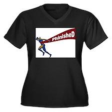 Phinished Women's Plus Size V-Neck Dark T-Shirt