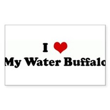 I Love My Water Buffalo Rectangle Decal