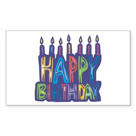 Happy Birthday Candles Rectangle Sticker