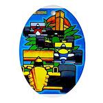 Grand Prix Auto Racing Print Oval Ornament