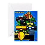 Grand Prix Auto Racing Print Greeting Cards