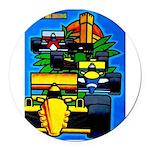 Grand Prix Auto Racing Print Round Car Magnet