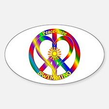 Peace Love Swimming Sticker (Oval)