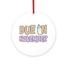 Due In November Girl Ornament (Round)