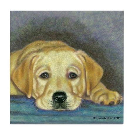 Time Out Yellow Lab Pup Tile Coaster