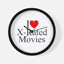 """I Love (Heart) X-Rated Movies"" Wall Clock"