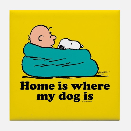 Snoopy - Home is where my dog is Full Tile Coaster