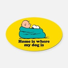 Snoopy - Home is where my dog is F Oval Car Magnet