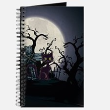 Vintage Halloween Cemetery Cat Journal