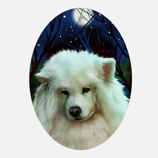 Samoyed Dog Full Moon Oval Ornament