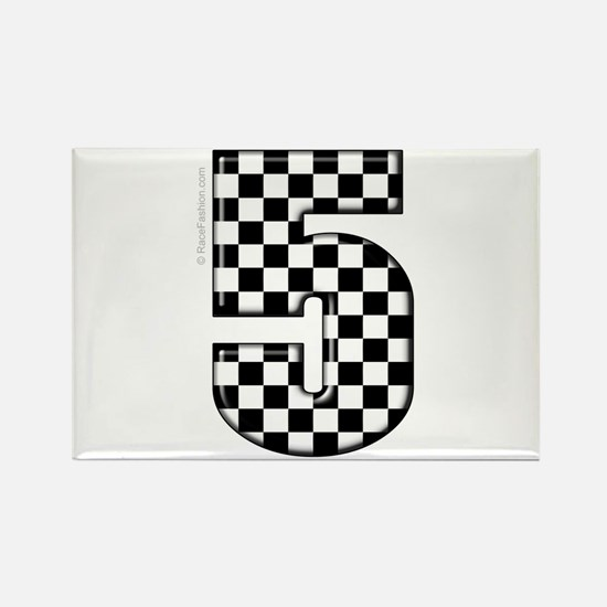 Checkered #5 Rectangle Magnet