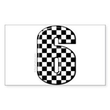 checkered number #6 Rectangle Decal