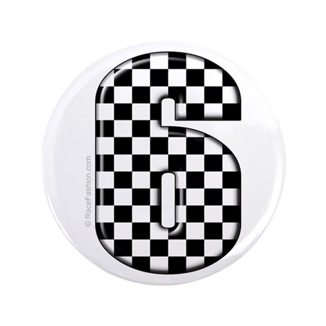 """checkered number #6 3.5"""" Button"""