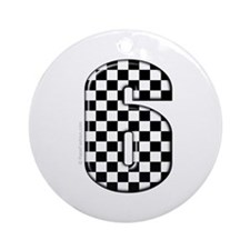 checkered number #6 Ornament (Round)