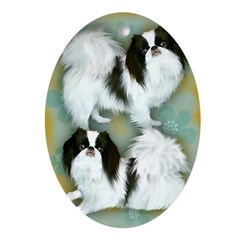 Japanese Chin Dogs Oval Ornament
