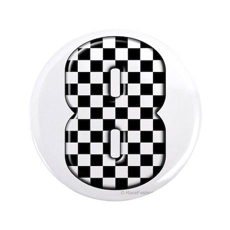 """Checkered #8 3.5"""" Button"""