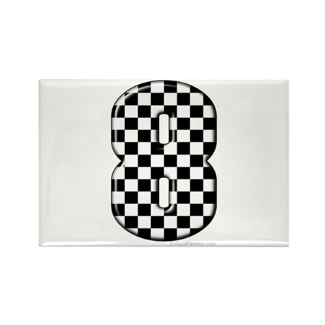 Checkered #8 Rectangle Magnet