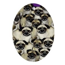 Pug Dogs Oval Ornament