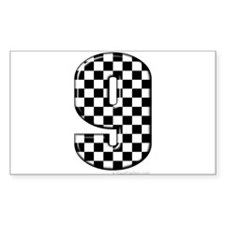 checkered number 9 Rectangle Decal