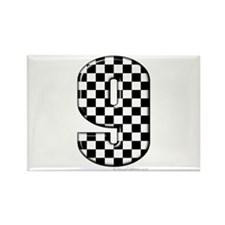 checkered number 9 Rectangle Magnet