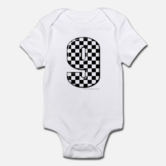 checkered number 9 Infant Bodysuit