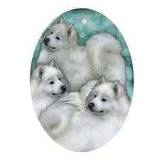 Samoyed Dogs Oval Ornament