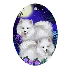 American Eskimo Dogs Moon Garden Oval Ornament