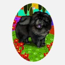 Black Chow Chow Dog Oval Ornament