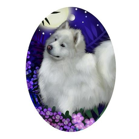 Samoyed Dog Full Moon Oval Ornament