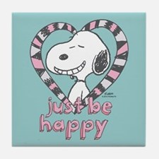 Snoopy Just Be Happy Full Bleed Tile Coaster