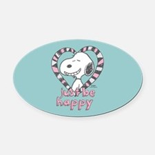 Snoopy Just Be Happy Full Bleed Oval Car Magnet