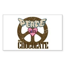Peace Love and Chocolate Rectangle Decal