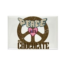 Peace Love and Chocolate Rectangle Magnet