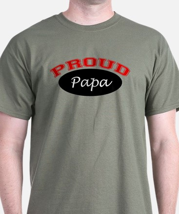 Proud Papa (black and red) T-Shirt