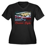 Cruisin' Style Women's Plus Size V-Neck Dark T-Shi