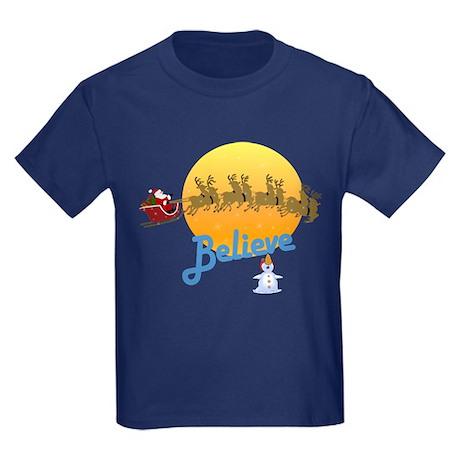 I Believe In Santa Claus Kids Dark T-Shirt