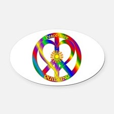 Peace Love Quilting Oval Car Magnet