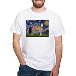 Starry / Greyhound (f) White T-Shirt