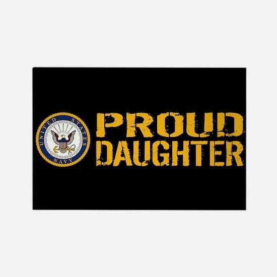 U.S. Navy: Proud Daughter (Black) Rectangle Magnet