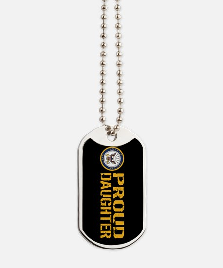 U.S. Navy: Proud Daughter (Black) Dog Tags