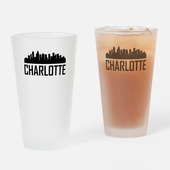 Skyline of Charlotte NC Drinking Glass