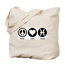 Peace Love Pisces Tote Bag
