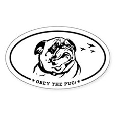 Obey the Pug! icon Oval Decal