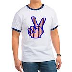Patriotic Peace Sign Ringer T