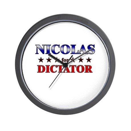 NICOLAS for dictator Wall Clock